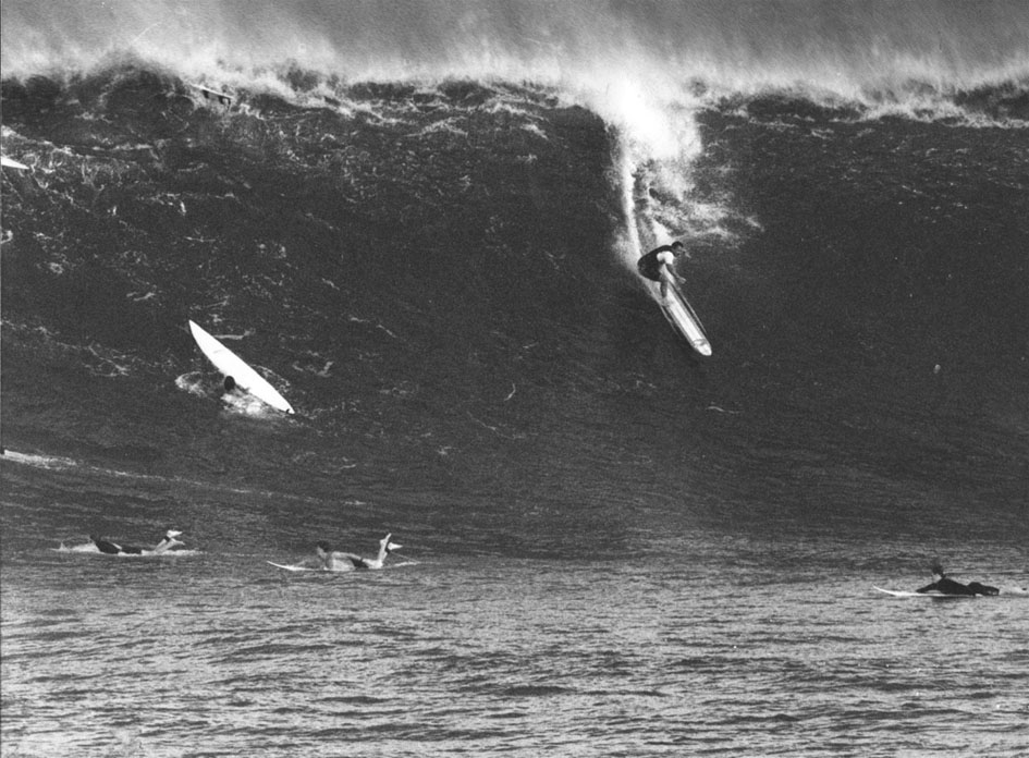Ivan Trent first honed his instincts as a SEAL while free-diving and surfing at Makaha with his father Buzzy—and (above) at Waimea. Photo: Bill Romerhaus
