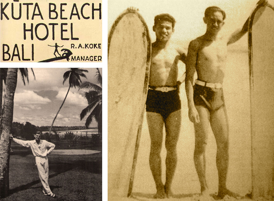 Top Left: The Kuta Beach Hotel served as the island's original surf accommodations, spawning a copycat of the same name in its early years Photo: Robert Koke. Bottom Left: Bob Koke on the lawn of the Kuta Beach Hotel. Photo: Louise Koke. Right: Hotel workers with the boards they used for surfing lessons Photo: Robert Koke.