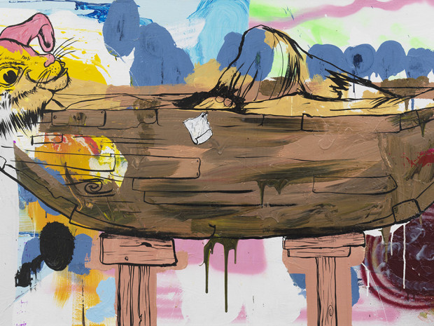 Queequeg in His Coffin (Horizontal) 2011, acrylic and enamel on canvas, 30' x 6'