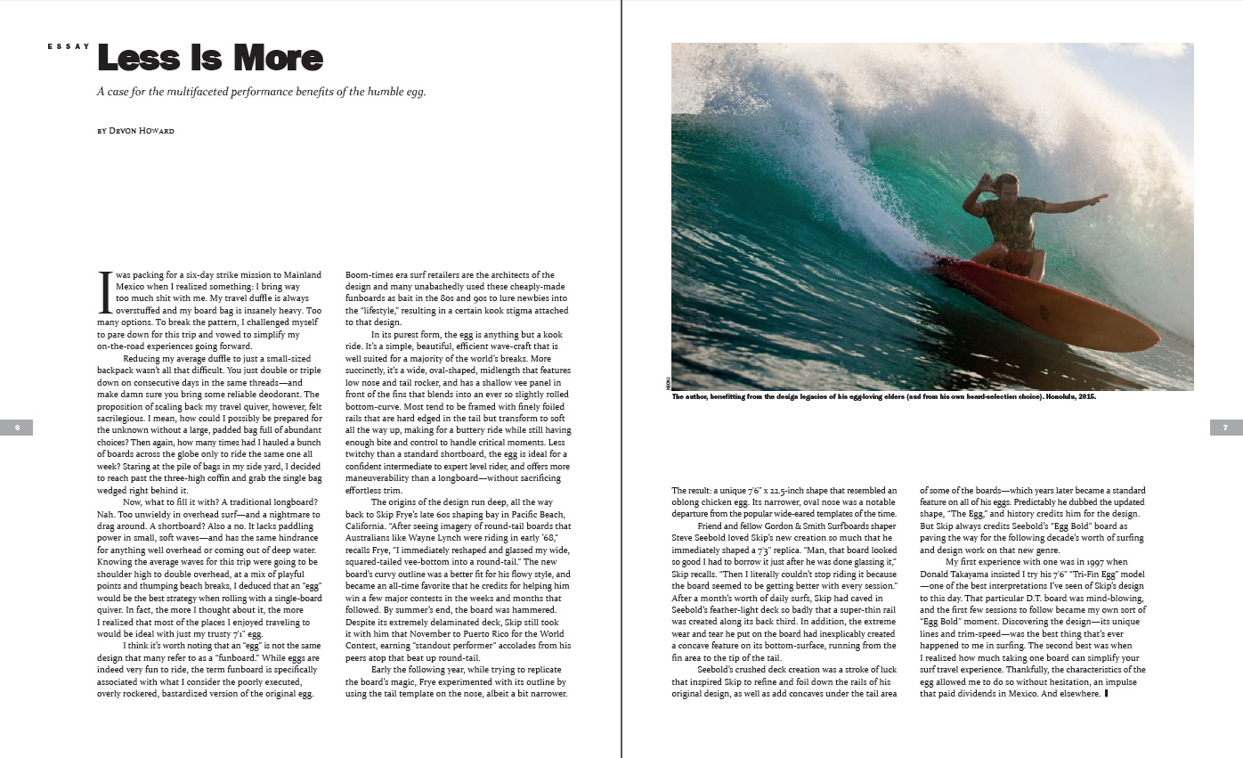 devon howard archives the surfers journal essay less is more